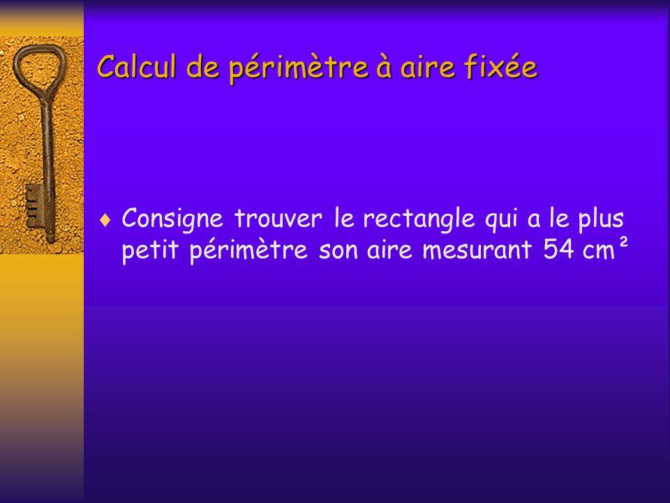 Calcul de périmètre à aire fixée Consigne trouver le rectangle qui a le plus petit périmètre son aire mesurant 54 cm²