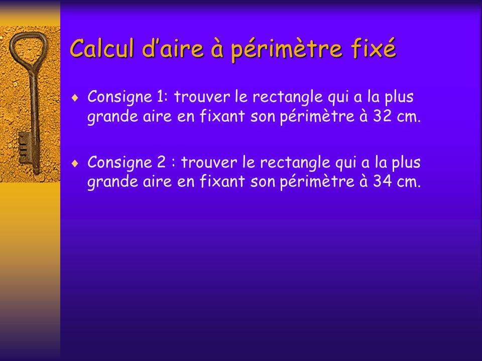 Calcul daire à périmètre fixé Consigne 1: trouver le rectangle qui a la plus grande aire en fixant son périmètre à 32 cm. Consigne 2 : trouver le rect