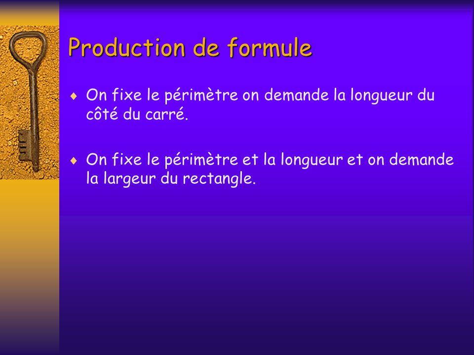 Production de formule On fixe le périmètre on demande la longueur du côté du carré. On fixe le périmètre et la longueur et on demande la largeur du re
