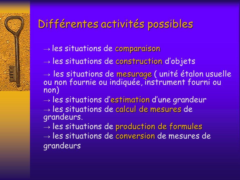 Différentes activités possibles Différentes activités possibles comparaison les situations de comparaison construction les situations de construction