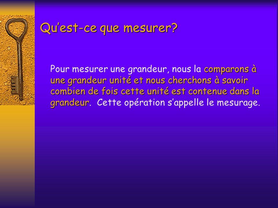 Quest-ce que mesurer? comparons à une grandeur unité et nous cherchons à savoir combien de fois cette unité est contenue dans la grandeur Pour mesurer
