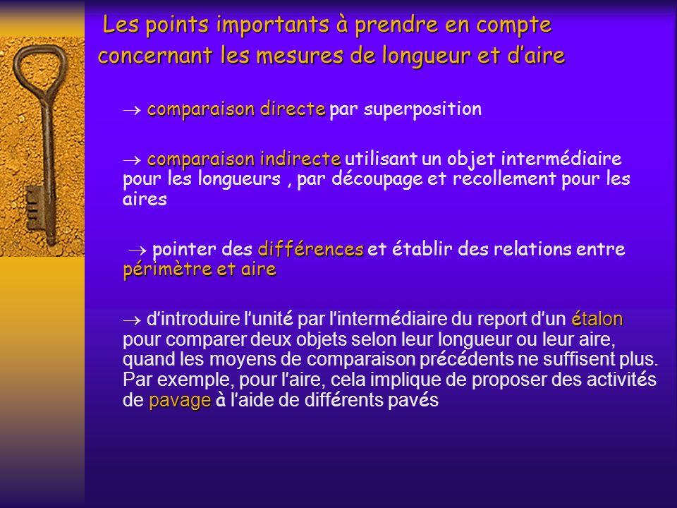 Les points importants à prendre en compte concernant les mesures de longueur et daire Les points importants à prendre en compte concernant les mesures