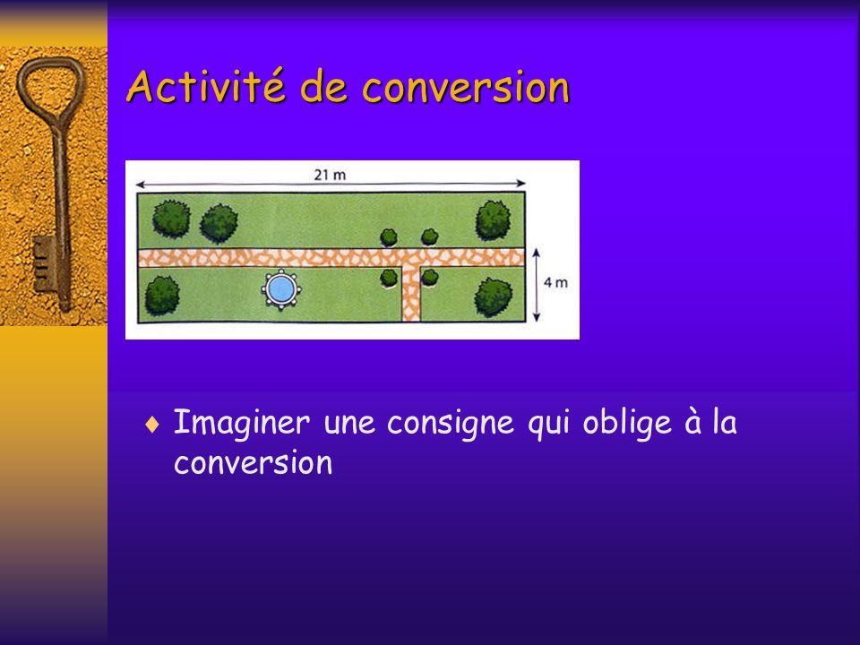 Activité de conversion Imaginer une consigne qui oblige à la conversion