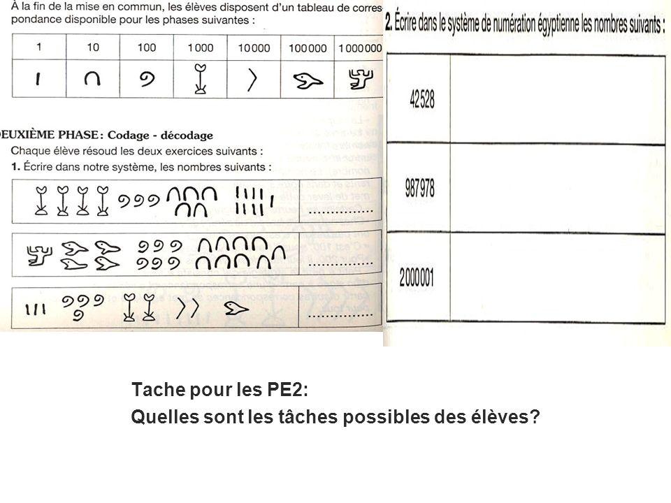 Tache pour les PE2: Quelles sont les tâches possibles des élèves?