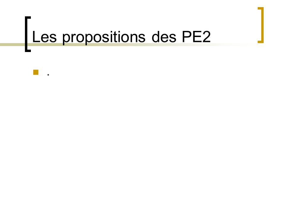 Les propositions des PE2.