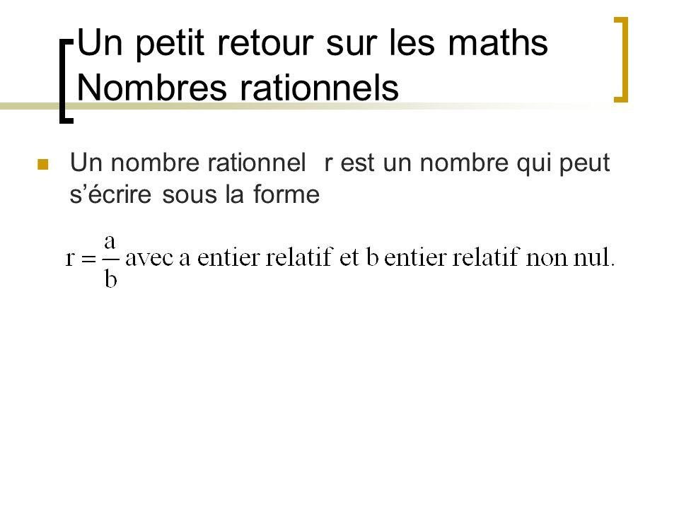 Un petit retour sur les maths Nombres rationnels Un nombre rationnel r est un nombre qui peut sécrire sous la forme