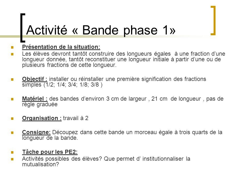 Activité « Bande phase 1» Présentation de la situation: Les élèves devront tantôt construire des longueurs égales à une fraction dune longueur donnée,