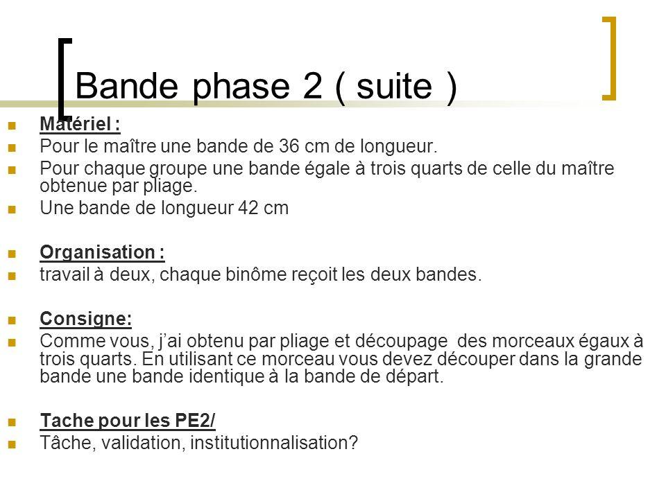Bande phase 2 ( suite ) Matériel : Pour le maître une bande de 36 cm de longueur. Pour chaque groupe une bande égale à trois quarts de celle du maître