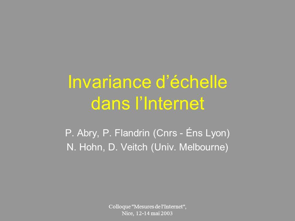 Colloque Mesures de l Internet , Nice, 12-14 mai 2003 Invariance déchelle dans lInternet P.