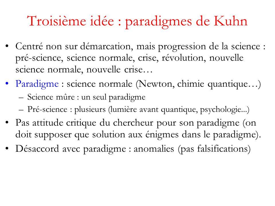 Troisième idée : paradigmes de Kuhn Centré non sur démarcation, mais progression de la science : pré-science, science normale, crise, révolution, nouvelle science normale, nouvelle crise… Paradigme : science normale (Newton, chimie quantique…) –Science mûre : un seul paradigme –Pré-science : plusieurs (lumière avant quantique, psychologie...) Pas attitude critique du chercheur pour son paradigme (on doit supposer que solution aux énigmes dans le paradigme).