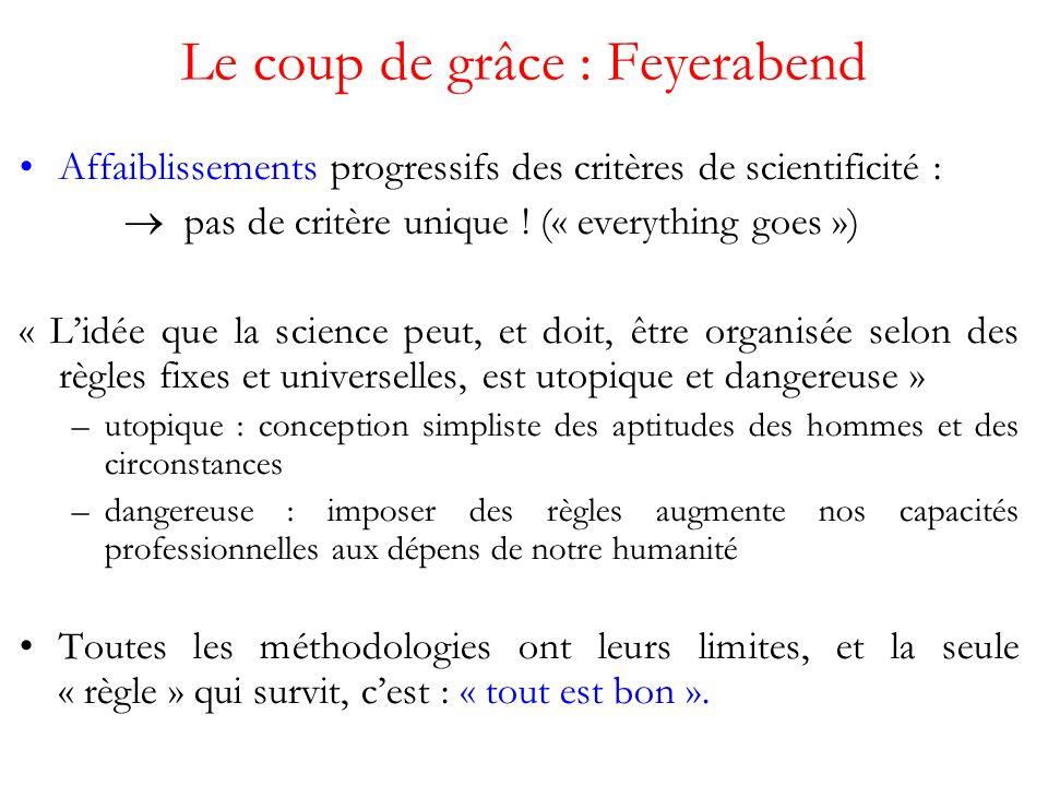 Le coup de grâce : Feyerabend Affaiblissements progressifs des critères de scientificité : pas de critère unique .