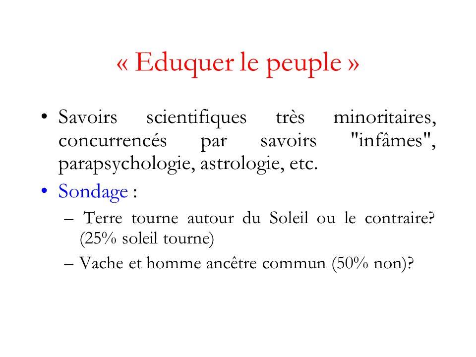 « Eduquer le peuple » Savoirs scientifiques très minoritaires, concurrencés par savoirs infâmes , parapsychologie, astrologie, etc.
