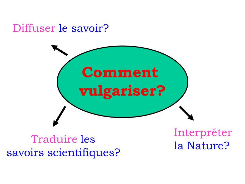 Comment vulgariser? Traduire les savoirs scientifiques? Diffuser le savoir? Interpréter la Nature?