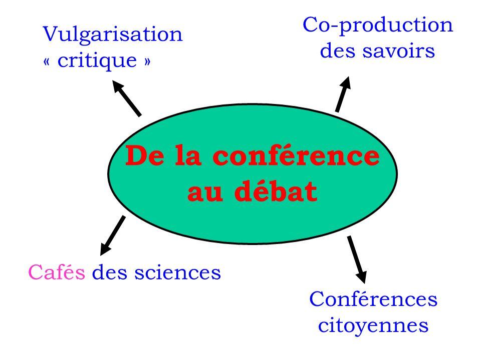 De la conférence au débat Cafés des sciences Co-production des savoirs Vulgarisation « critique » Conférences citoyennes