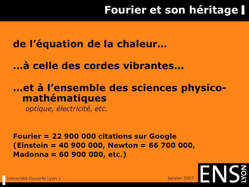 janvier 2007 Université Ouverte Lyon 1 analyse de Fourier associe à une suite dévénements dans le temps (signal) une collection de fréquences (son spectre) … et vice-versa !
