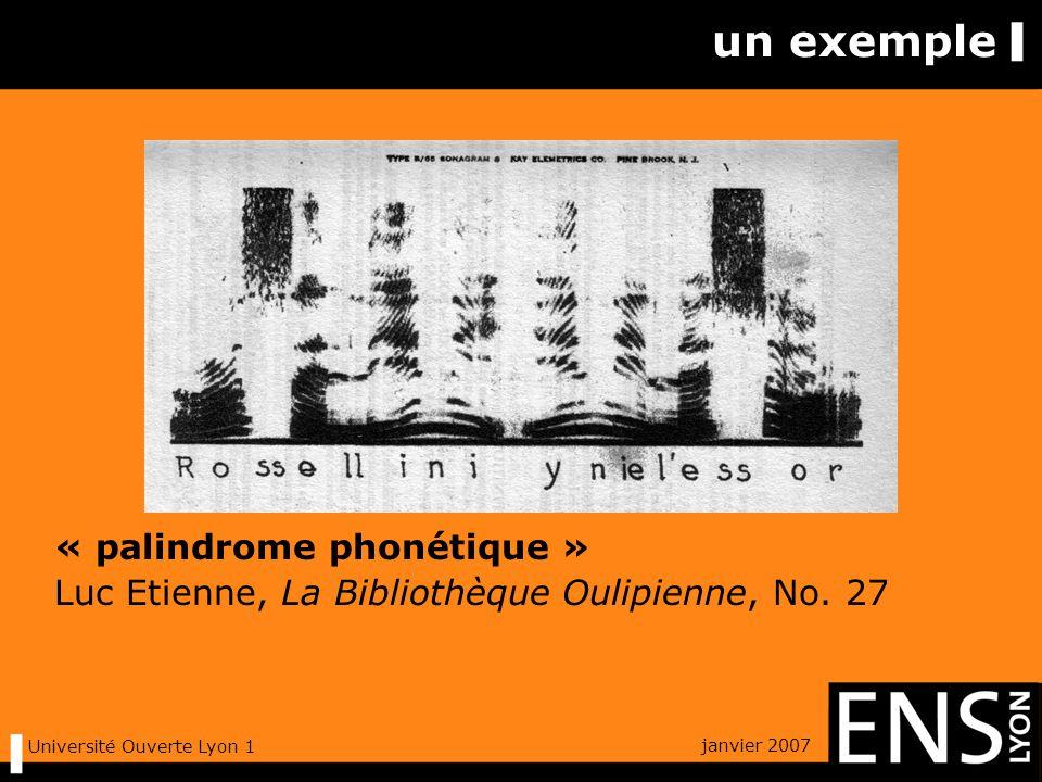 janvier 2007 Université Ouverte Lyon 1 électro-mécanique spectrographe de Potter (1930), puis de Koenig, Dunn & Lacy (1946) tambour enregistreur filtrage passe-bande asservi à la rotation papier électrosensible « visible speech »
