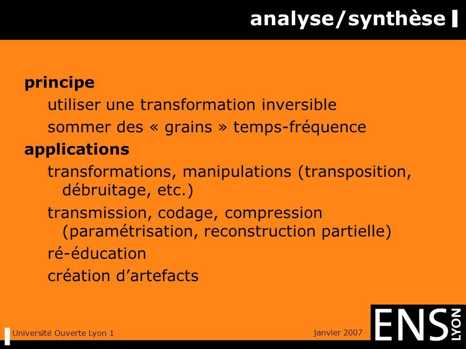 janvier 2007 Université Ouverte Lyon 1 au-delà de Fourier : intuition la notation musicale hauteur des notes (fréquence) durée (temps) intensité une portée mathématique .