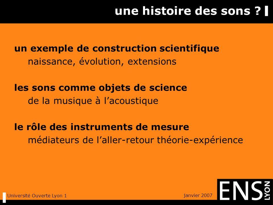 janvier 2007 Université Ouverte Lyon 1 une histoire des sons .