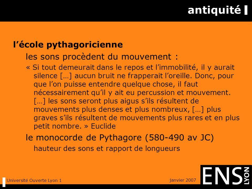 janvier 2007 Université Ouverte Lyon 1 antiquité lécole pythagoricienne les sons procèdent du mouvement : « Si tout demeurait dans le repos et limmobilité, il y aurait silence […] aucun bruit ne frapperait loreille.
