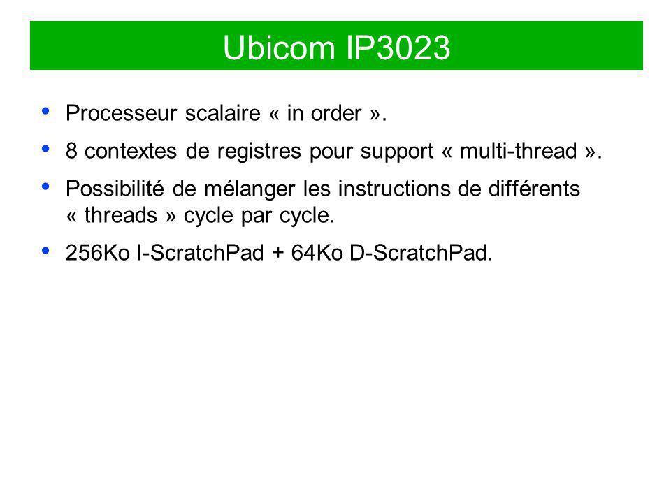 Ubicom IP3023 Processeur scalaire « in order ». 8 contextes de registres pour support « multi-thread ». Possibilité de mélanger les instructions de di