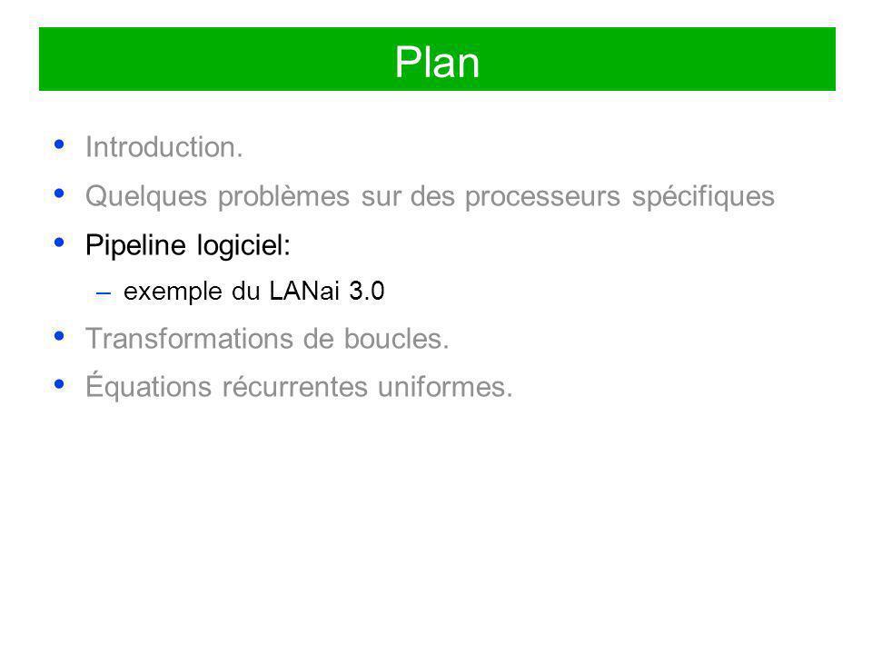 Plan Introduction. Quelques problèmes sur des processeurs spécifiques Pipeline logiciel: –exemple du LANai 3.0 Transformations de boucles. Équations r