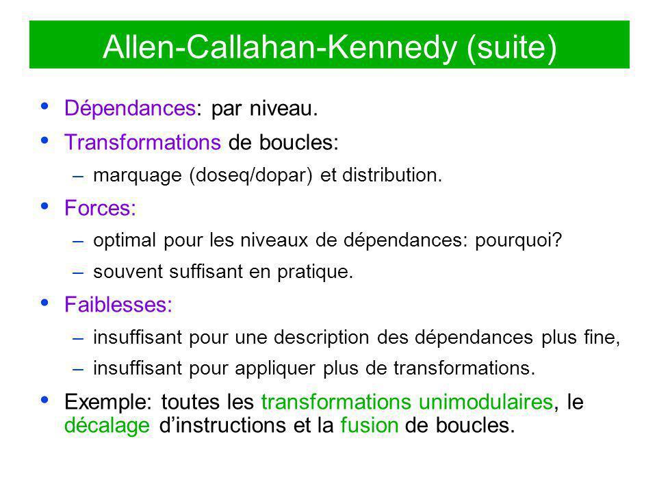 Allen-Callahan-Kennedy (suite) Dépendances: par niveau. Transformations de boucles: –marquage (doseq/dopar) et distribution. Forces: –optimal pour les