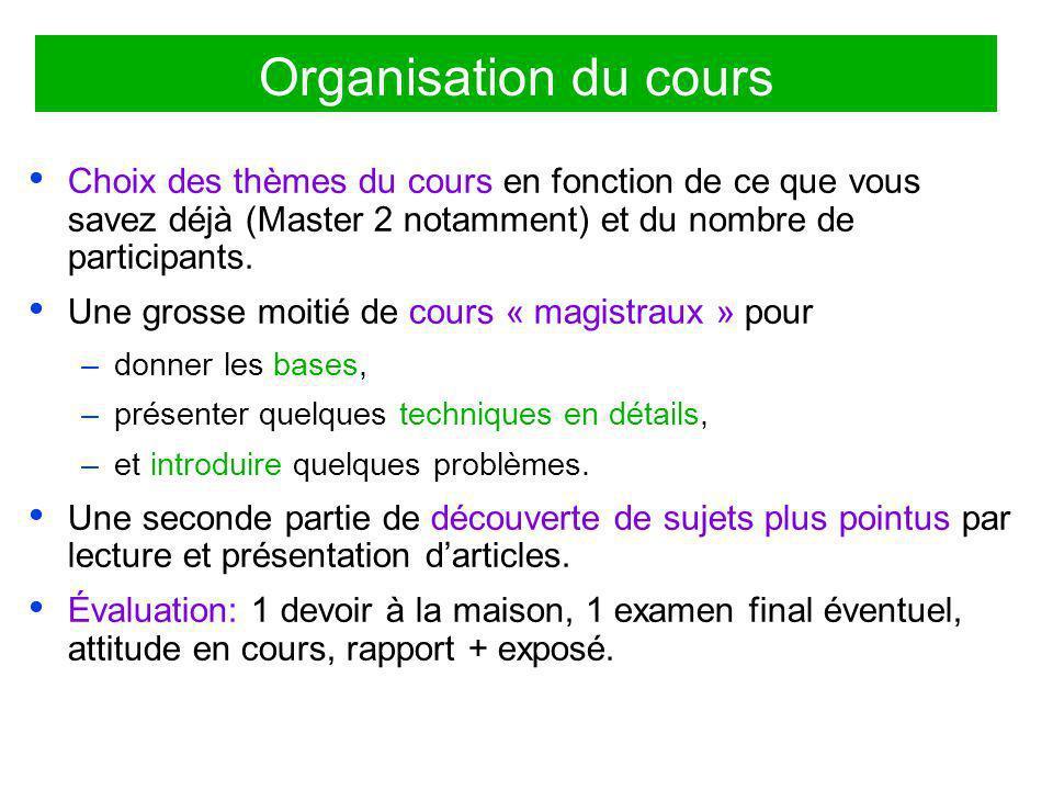 Organisation du cours Choix des thèmes du cours en fonction de ce que vous savez déjà (Master 2 notamment) et du nombre de participants. Une grosse mo