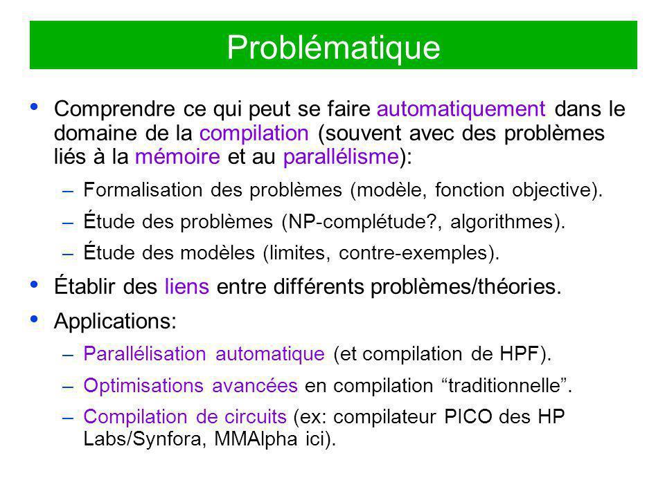 prologue do i = 2,n a(i) = d(i) + 1 b(i) = a(i)/2 c(i-1) = b(i) + a(i-1) enddo épilogue prologue do i = 2,n a(i) = d(i) + 1 b = a(i)/2 c(i-1) = b + a(i-1) enddo épilogue Un exemple de problème de fusion pour la mémoire: la contraction de tableaux But: transformer un tableau temporaire en scalaire.