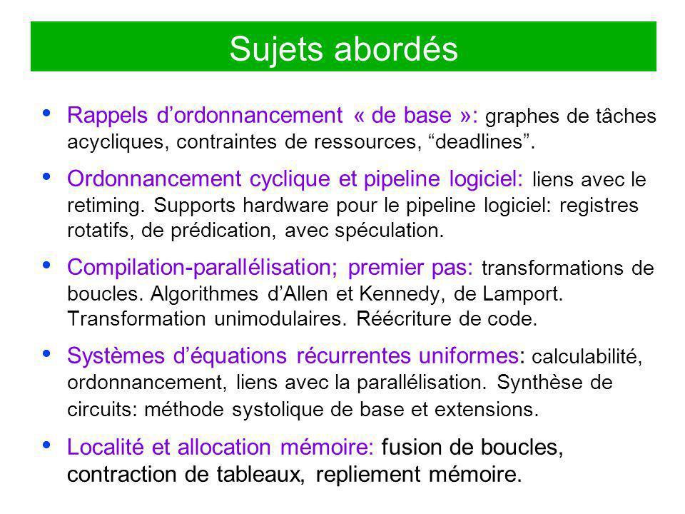 Outils mathématiques Modélisation: –Systèmes déquations récurrentes uniformes.