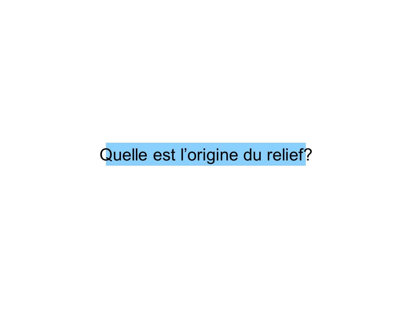 Quelle est lorigine du relief?