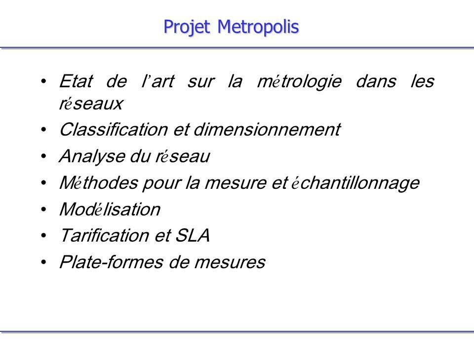Projet Metropolis Etat de l art sur la m é trologie dans les r é seaux Classification et dimensionnement Analyse du r é seau M é thodes pour la mesure