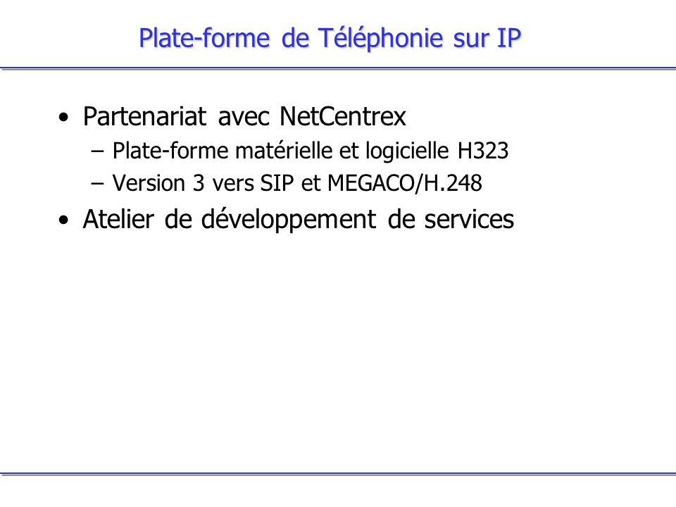 Plate-forme de Téléphonie sur IP Partenariat avec NetCentrex –Plate-forme matérielle et logicielle H323 –Version 3 vers SIP et MEGACO/H.248 Atelier de