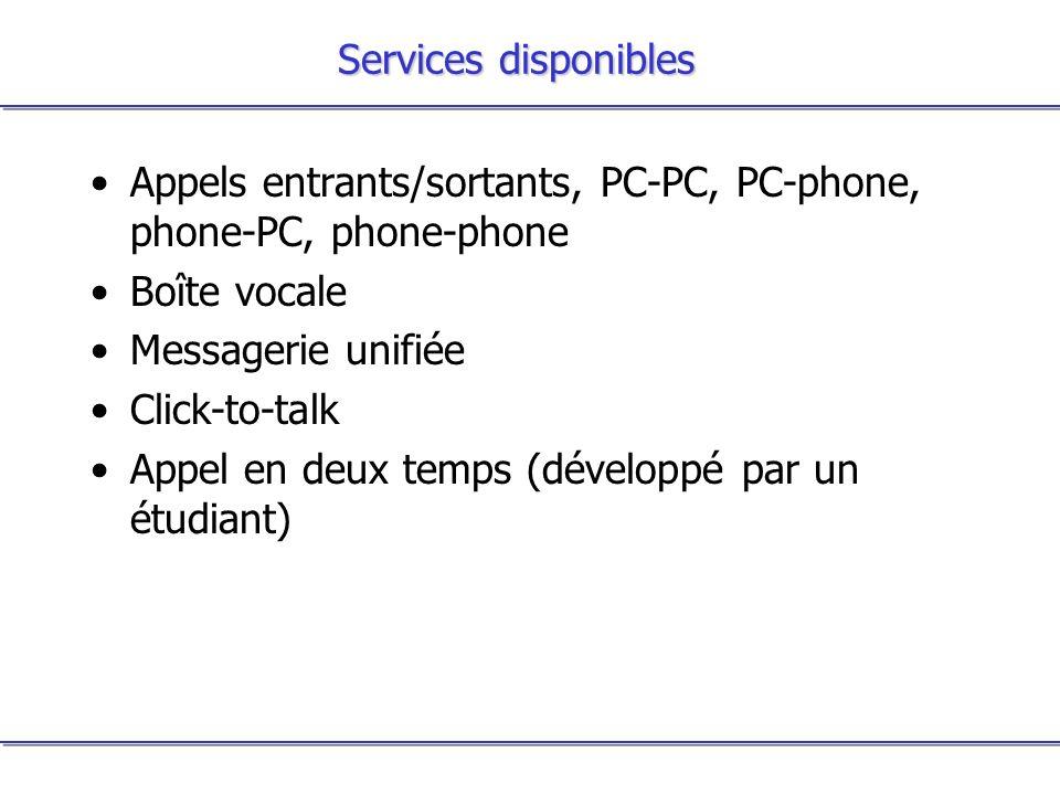 Services disponibles Appels entrants/sortants, PC-PC, PC-phone, phone-PC, phone-phone Boîte vocale Messagerie unifiée Click-to-talk Appel en deux temp