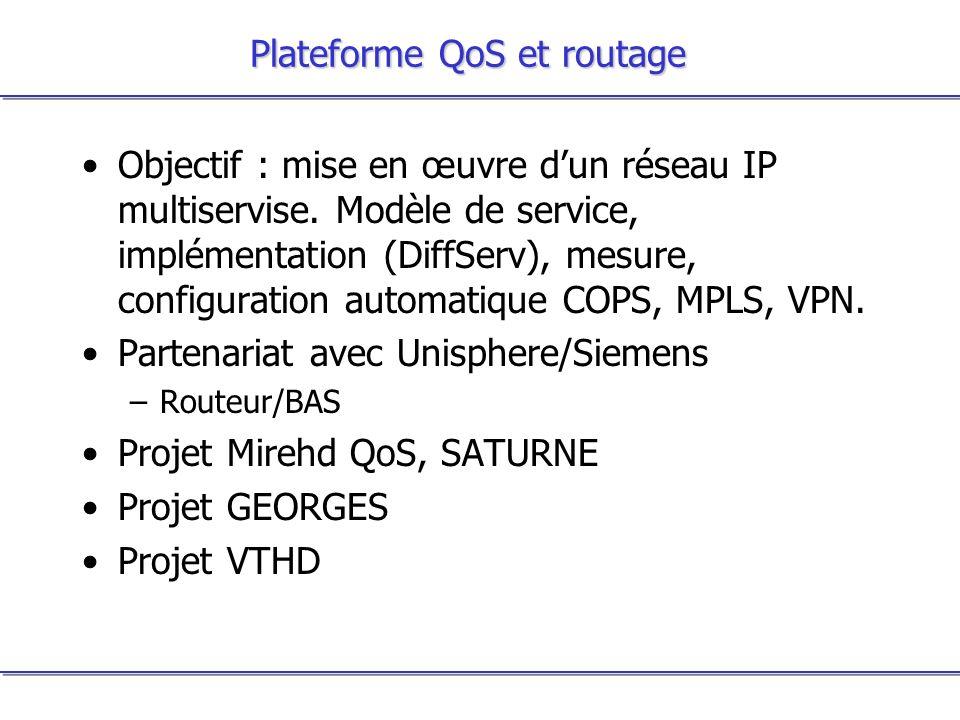 Plateforme QoS et routage Objectif : mise en œuvre dun réseau IP multiservise. Modèle de service, implémentation (DiffServ), mesure, configuration aut