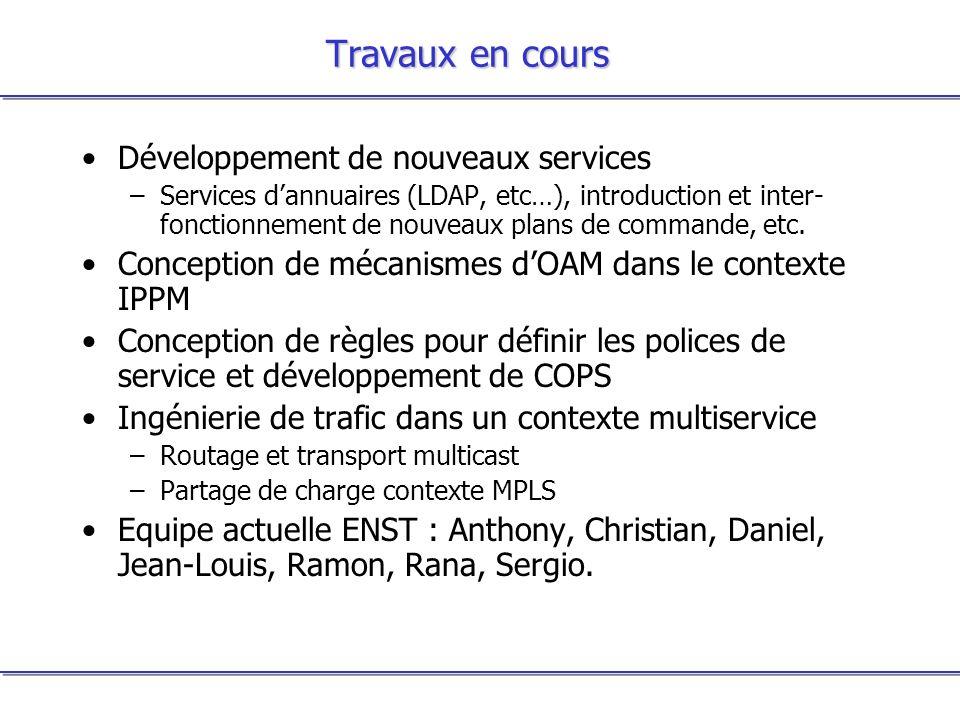 Travaux en cours Développement de nouveaux services –Services dannuaires (LDAP, etc…), introduction et inter- fonctionnement de nouveaux plans de comm