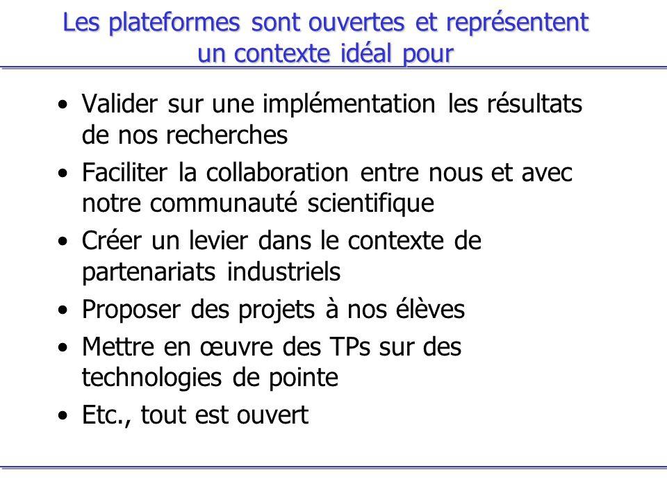 Les plateformes sont ouvertes et représentent un contexte idéal pour Valider sur une implémentation les résultats de nos recherches Faciliter la colla