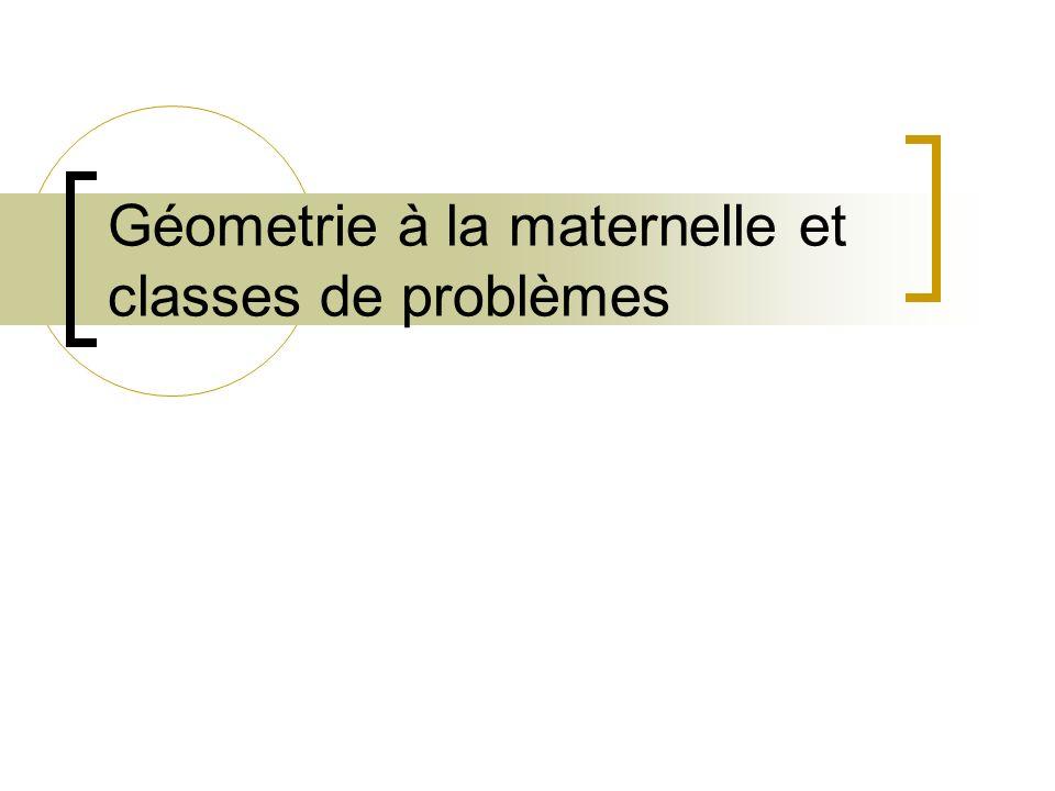 Géometrie à la maternelle et classes de problèmes