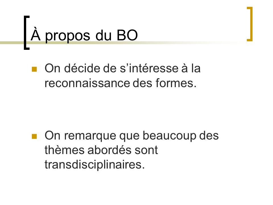 À propos du BO On décide de sintéresse à la reconnaissance des formes. On remarque que beaucoup des thèmes abordés sont transdisciplinaires.