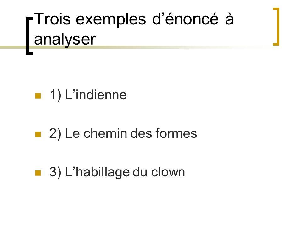 Trois exemples dénoncé à analyser 1) Lindienne 2) Le chemin des formes 3) Lhabillage du clown