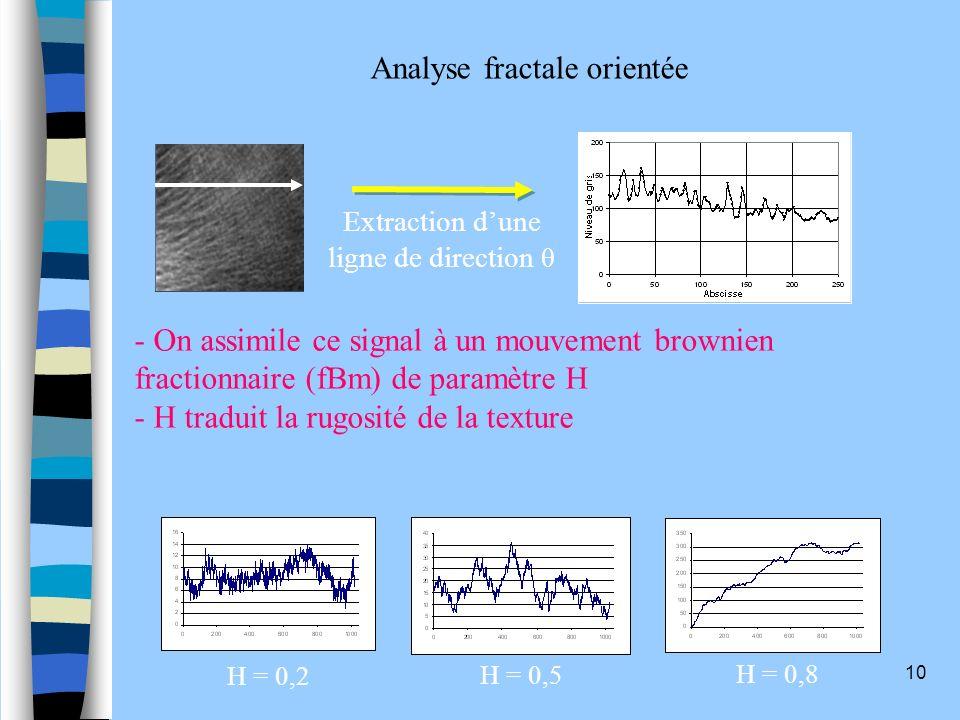 10 H = 0,2 H = 0,5 H = 0,8 Extraction dune ligne de direction θ - On assimile ce signal à un mouvement brownien fractionnaire (fBm) de paramètre H - H