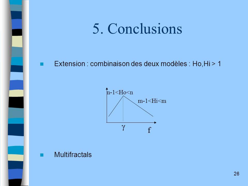 26 5. Conclusions Extension : combinaison des deux modèles : Ho,Hi > 1 Multifractals f n-1<Ho<n m-1<Hi<m