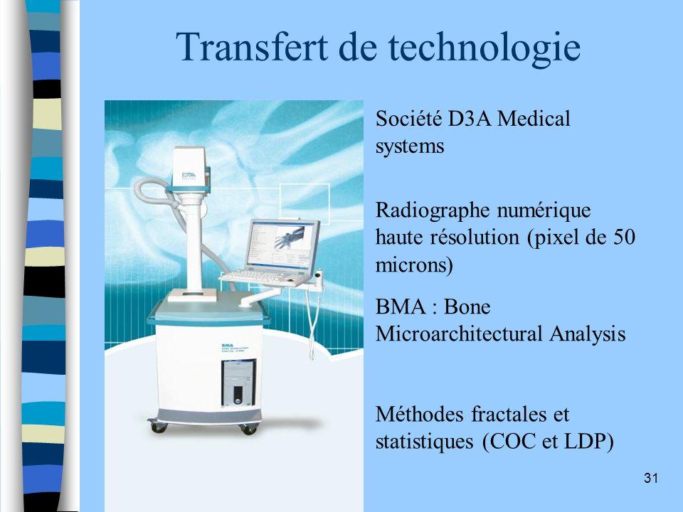 31 Transfert de technologie Société D3A Medical systems BMA : Bone Microarchitectural Analysis Méthodes fractales et statistiques (COC et LDP) Radiogr