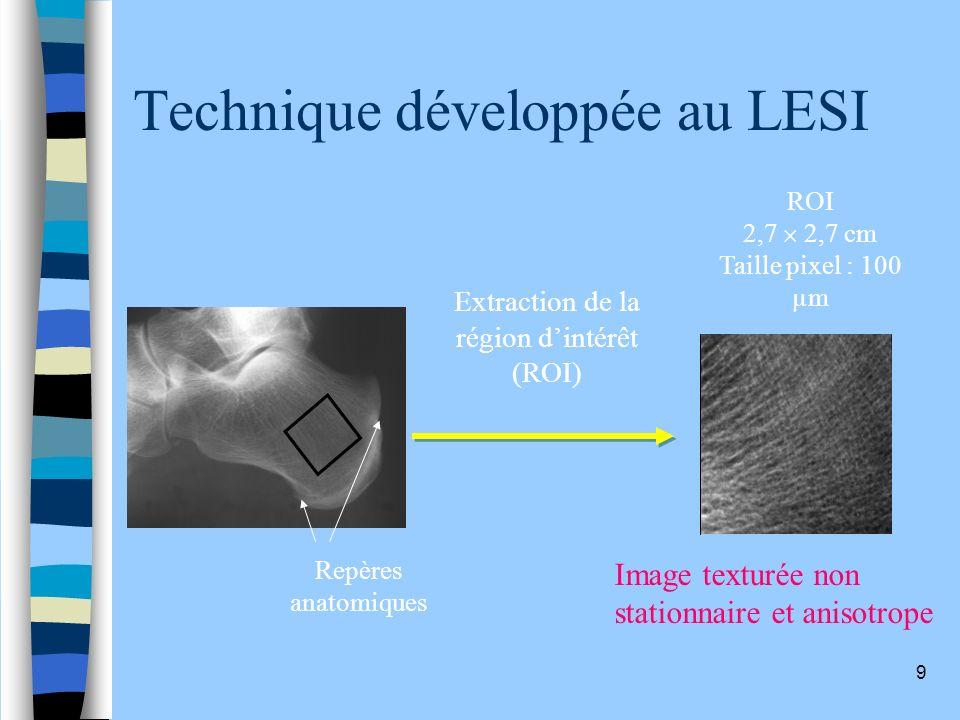 9 Technique développée au LESI Repères anatomiques Extraction de la région dintérêt (ROI) ROI 2,7 2,7 cm Taille pixel : 100 µm Image texturée non stat