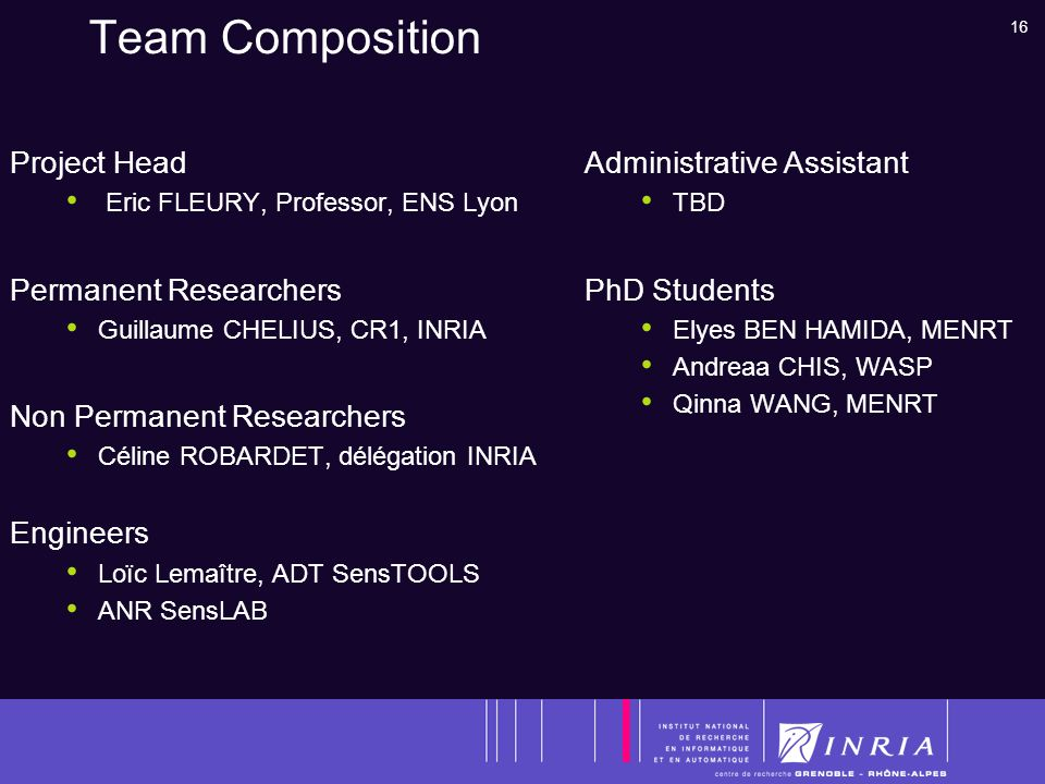 16 Team Composition Project Head Eric FLEURY, Professor, ENS Lyon Permanent Researchers Guillaume CHELIUS, CR1, INRIA Non Permanent Researchers Céline