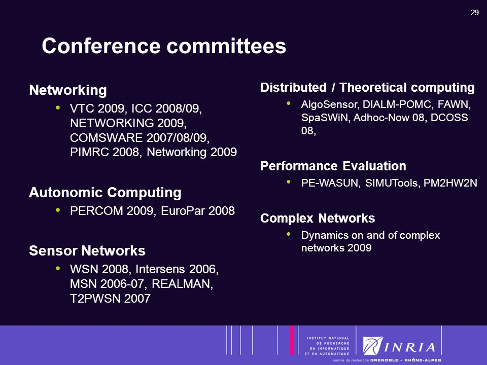 29 Conference committees Networking VTC 2009, ICC 2008/09, NETWORKING 2009, COMSWARE 2007/08/09, PIMRC 2008, Networking 2009 Autonomic Computing PERCOM 2009, EuroPar 2008 Sensor Networks WSN 2008, Intersens 2006, MSN 2006-07, REALMAN, T2PWSN 2007 Distributed / Theoretical computing AlgoSensor, DIALM-POMC, FAWN, SpaSWiN, Adhoc-Now 08, DCOSS 08, Performance Evaluation PE-WASUN, SIMUTools, PM2HW2N Complex Networks Dynamics on and of complex networks 2009