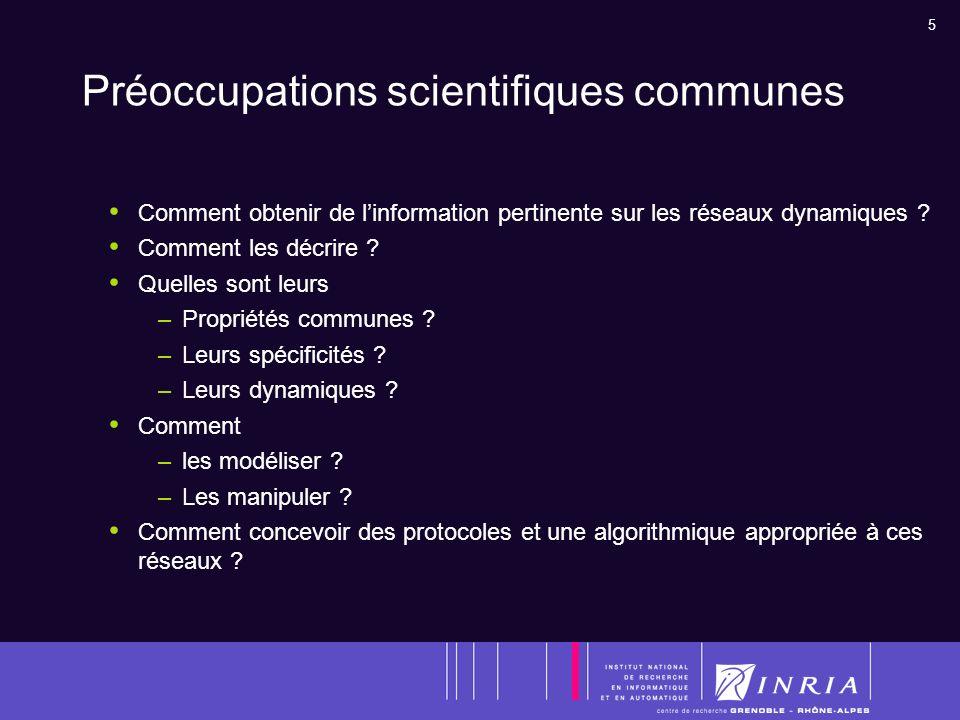 5 Préoccupations scientifiques communes Comment obtenir de linformation pertinente sur les réseaux dynamiques .