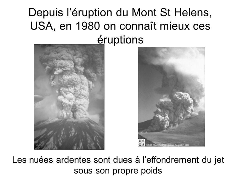 Depuis léruption du Mont St Helens, USA, en 1980 on connaît mieux ces éruptions Les nuées ardentes sont dues à leffondrement du jet sous son propre po