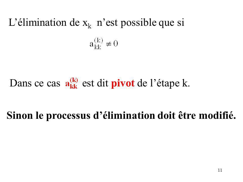 11 Lélimination de x k nest possible que si Dans ce cas est dit pivot de létape k.