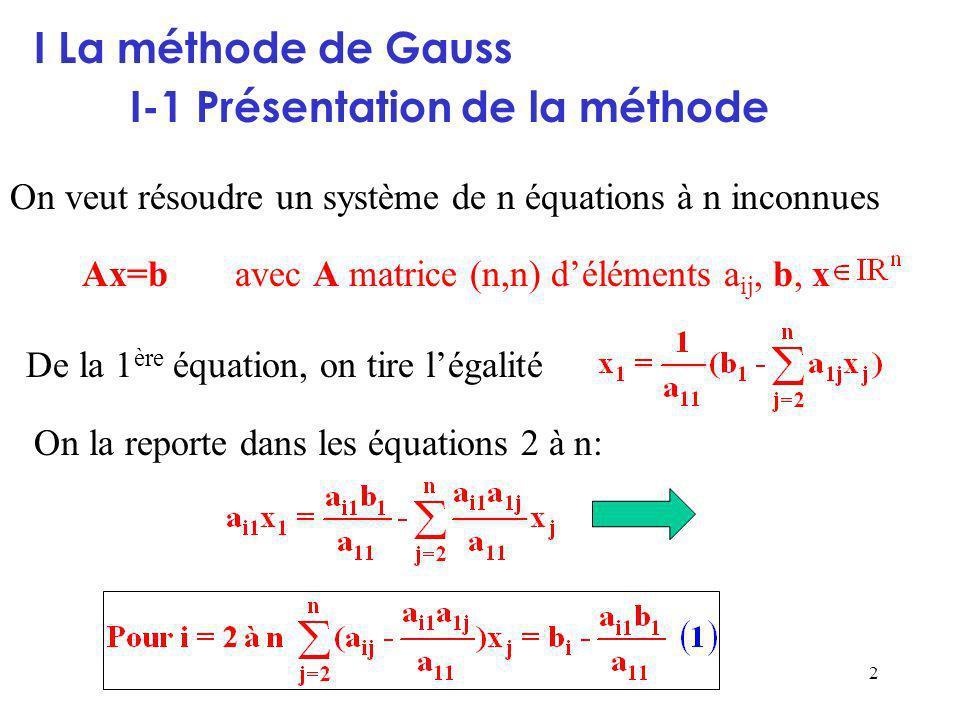 2 I La méthode de Gauss I-1 Présentation de la méthode De la 1 ère équation, on tire légalité On la reporte dans les équations 2 à n: On veut résoudre un système de n équations à n inconnues Ax=b avec A matrice (n,n) déléments a ij, b, x