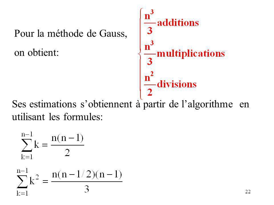 22 Pour la méthode de Gauss, on obtient: Ses estimations sobtiennent à partir de lalgorithme en utilisant les formules:
